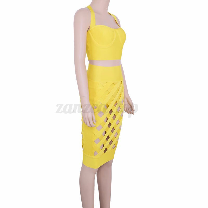 Sexy Women 2 PIECE Set Bandage Bodycon Party Crop Top Dress Skirt Hollow Dress