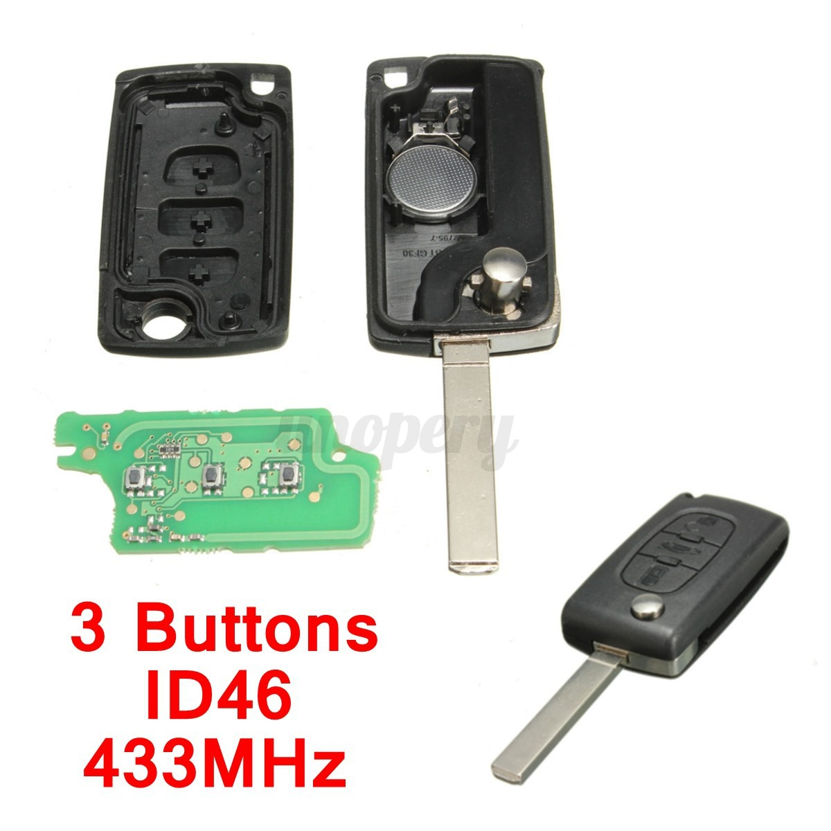 3 buttons remote key 433mhz transponder chip id46 for peugeot 207 307 308 etc ebay. Black Bedroom Furniture Sets. Home Design Ideas