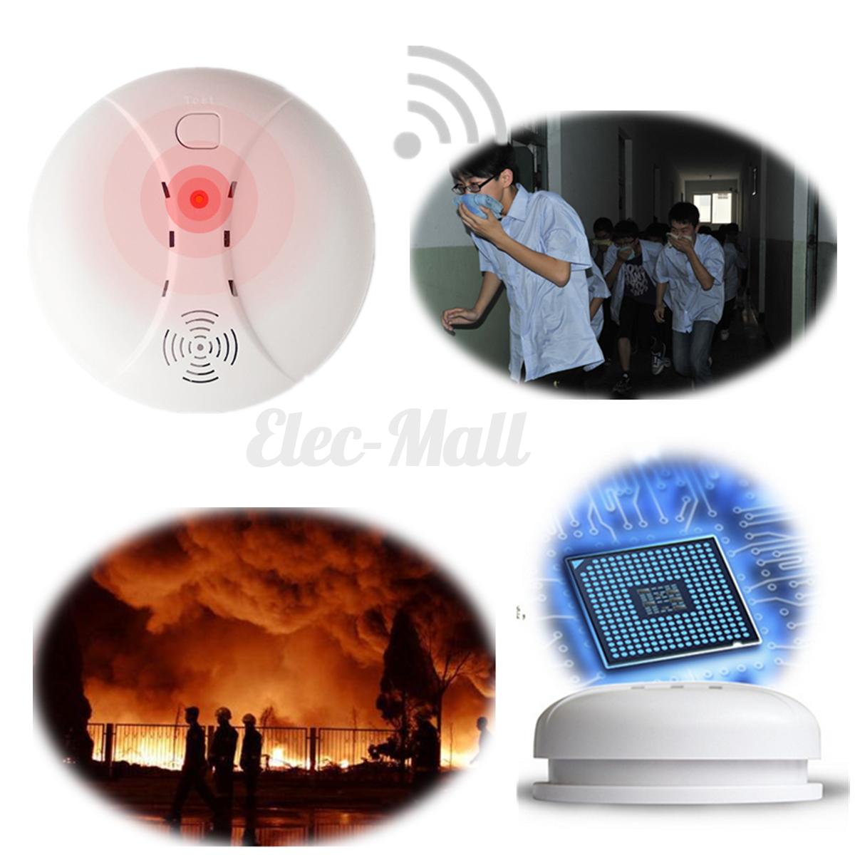 D tecteur de fum e alarme sans fil capteur anti incendie for Anti incendie maison