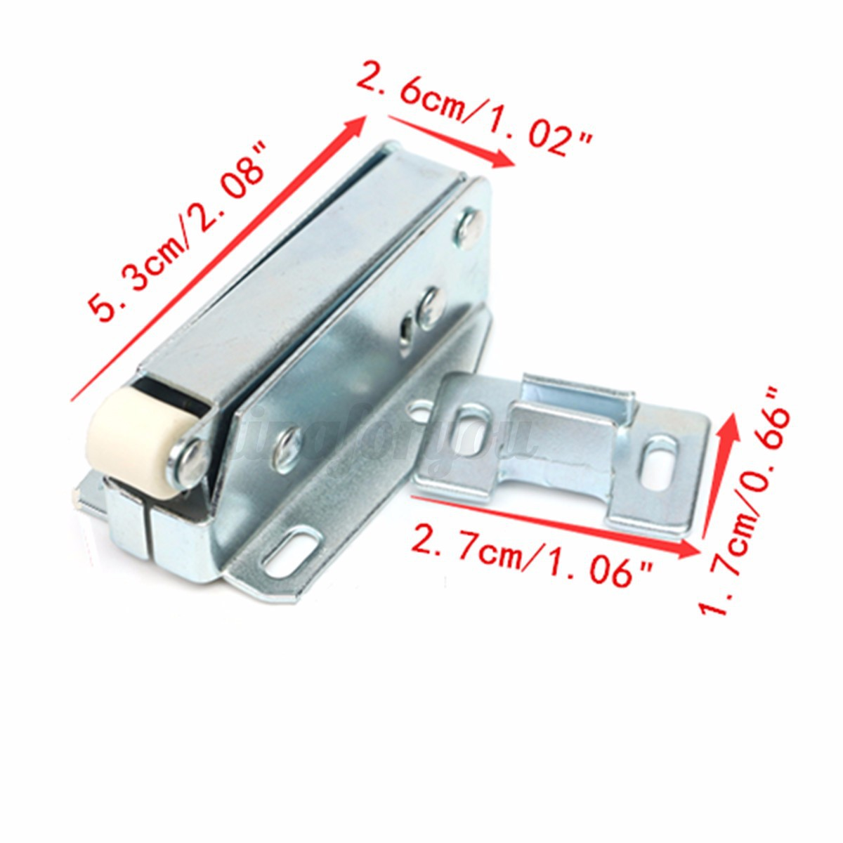 2x loft door touch catch attic hatch sprung cupboard latch. Black Bedroom Furniture Sets. Home Design Ideas