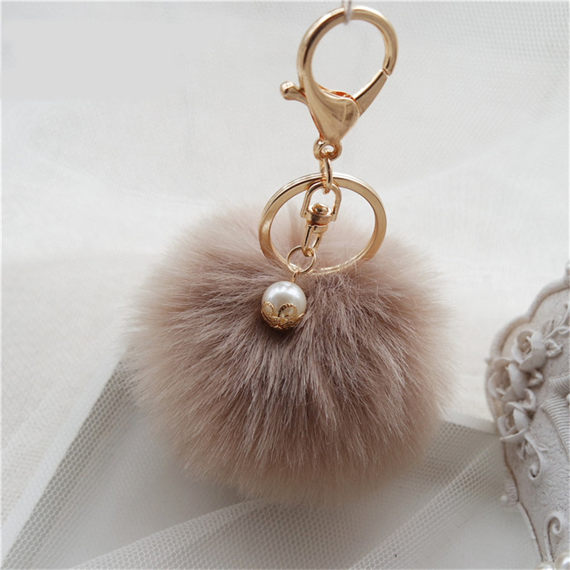 femme 8cm pompon porte cl fourrure de lapin pendentif sac phone accessoire hot ebay. Black Bedroom Furniture Sets. Home Design Ideas