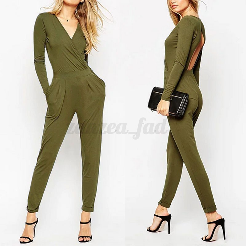 celeb damen langarm pocket long overall party jumpsuit. Black Bedroom Furniture Sets. Home Design Ideas