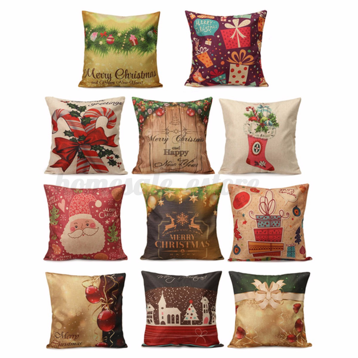 Christmas Decorative Pillow Cases : Vintage Cotton Linen Throw Pillow Case Xmas Cushion Cover Christmas Decor Gift eBay