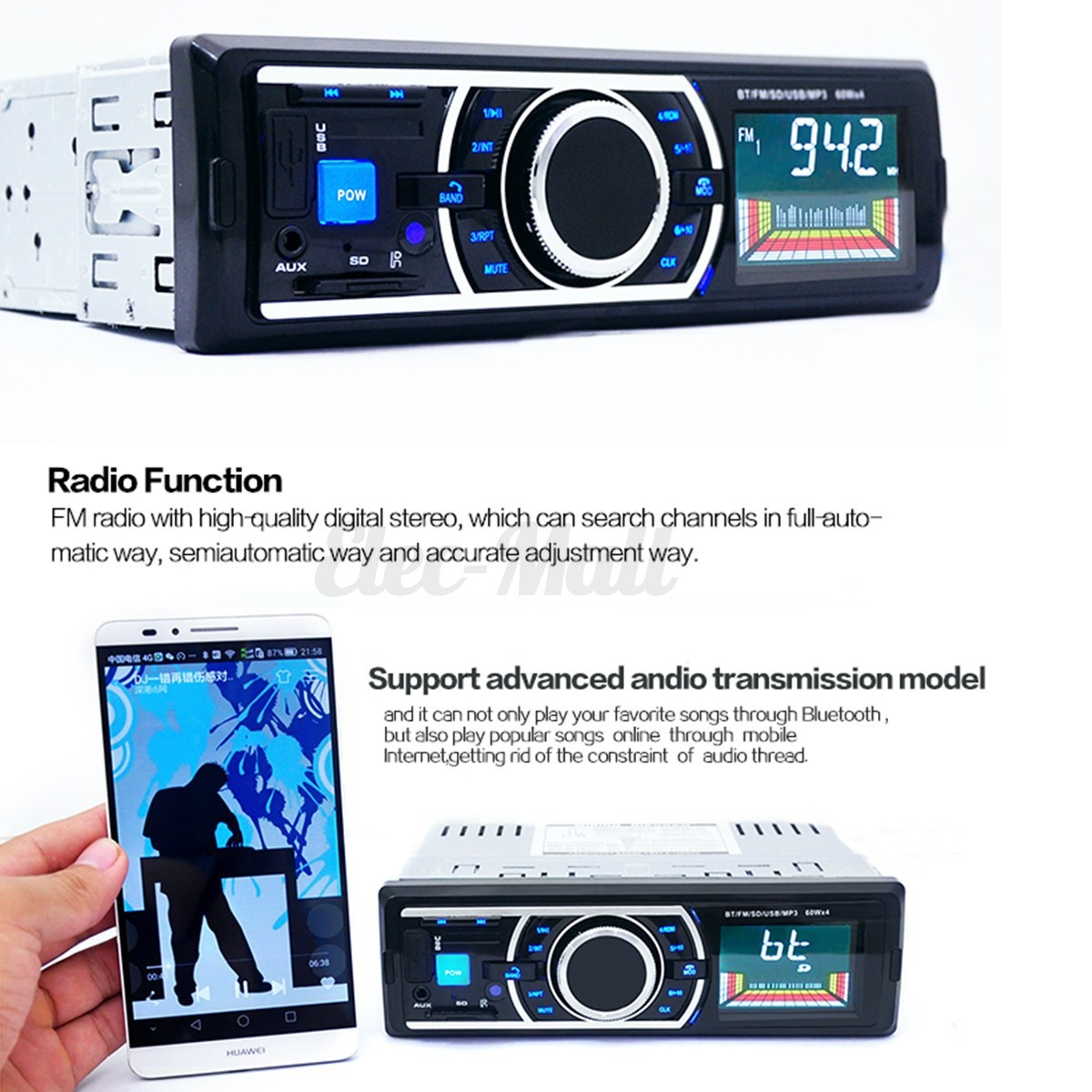 bluetooth lcd voiture autoradio st r o mp3 lecteur fm radio usb sd main libre ebay. Black Bedroom Furniture Sets. Home Design Ideas
