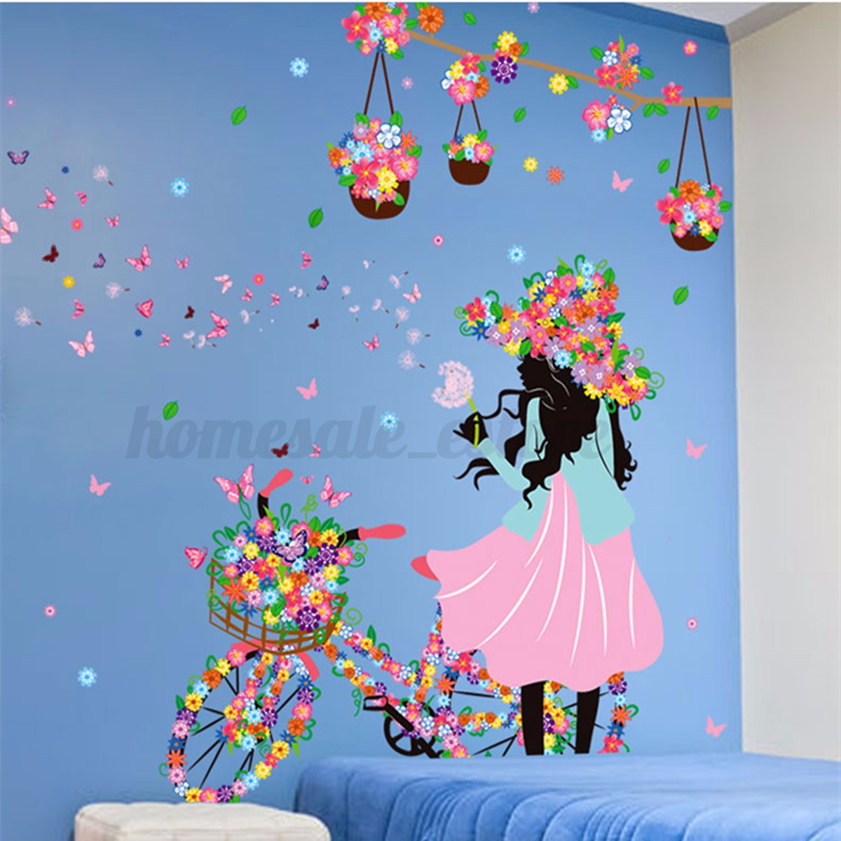 Girl flower removable wall art sticker vinyl decal room home mural deco - Decoration mural design ...