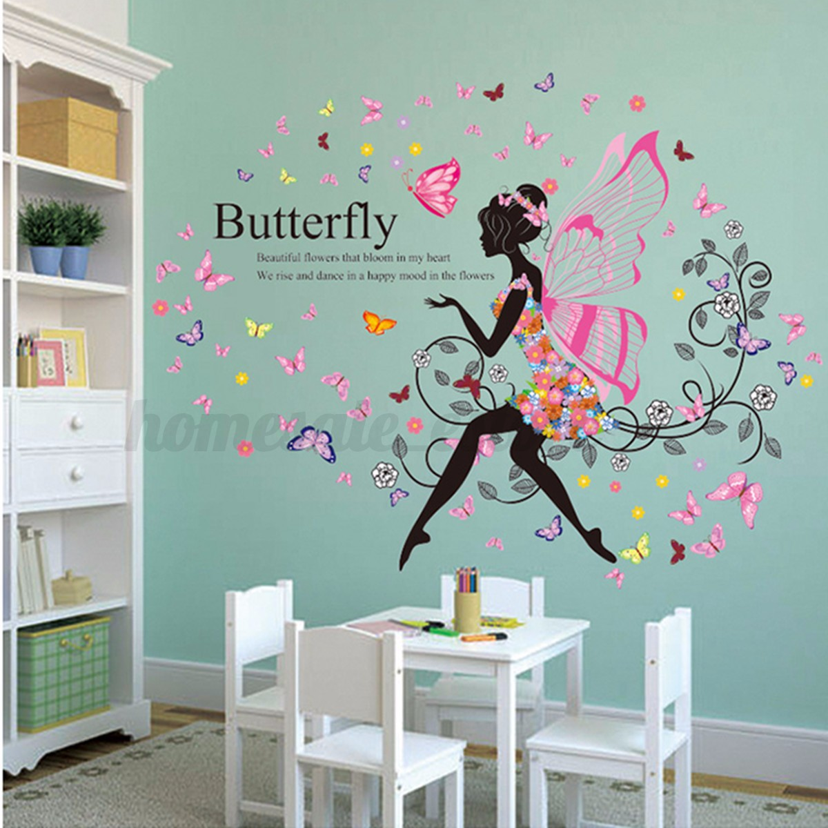 Girl flower removable wall art sticker vinyl decal room for Diy wall photo mural