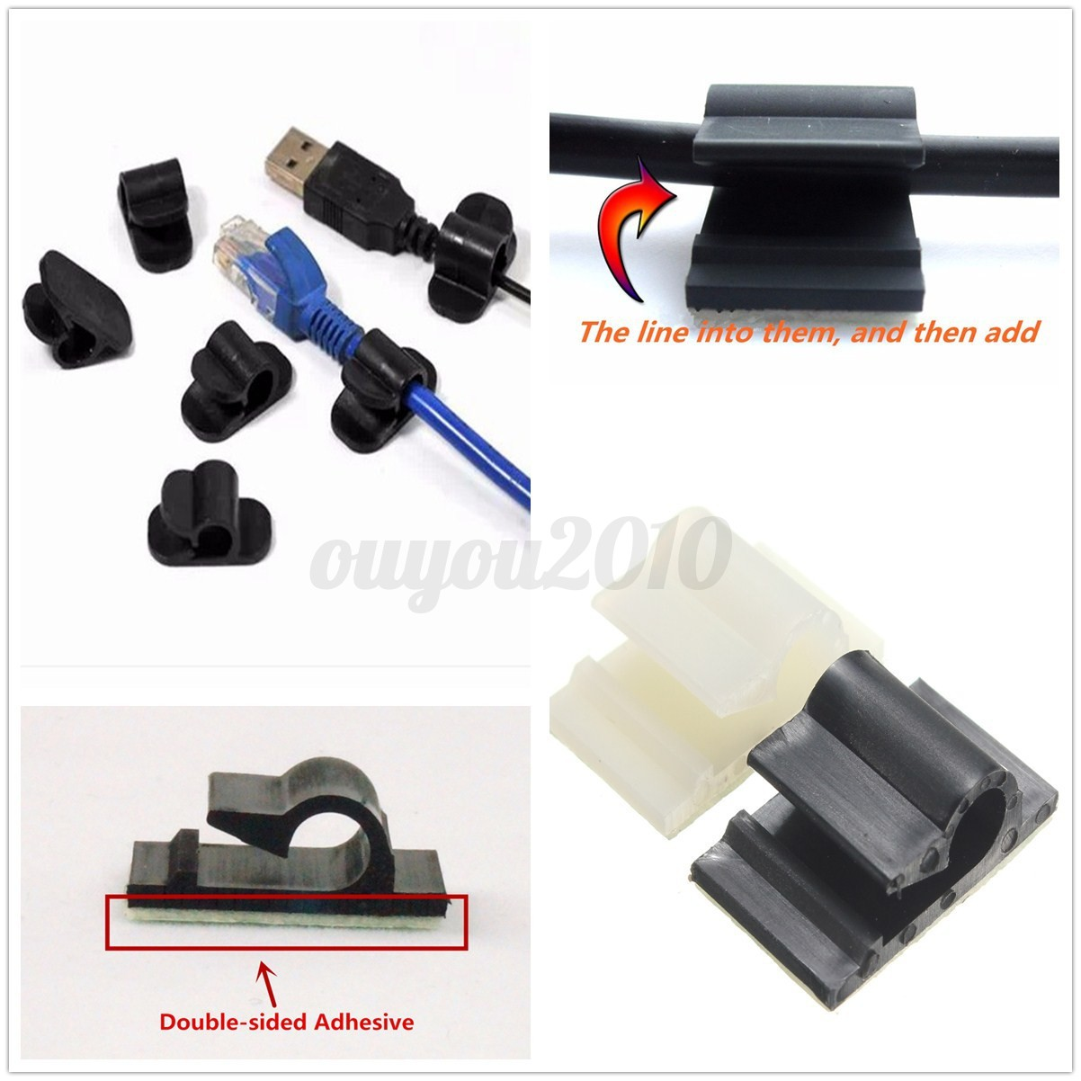 Pcs self adhesive home car wire tie clips fixing nail