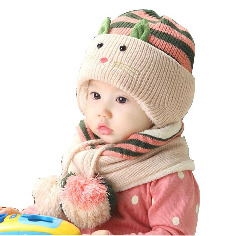 Set Cute Baby Boy Girls Winter Warm Hats Beanie Caps