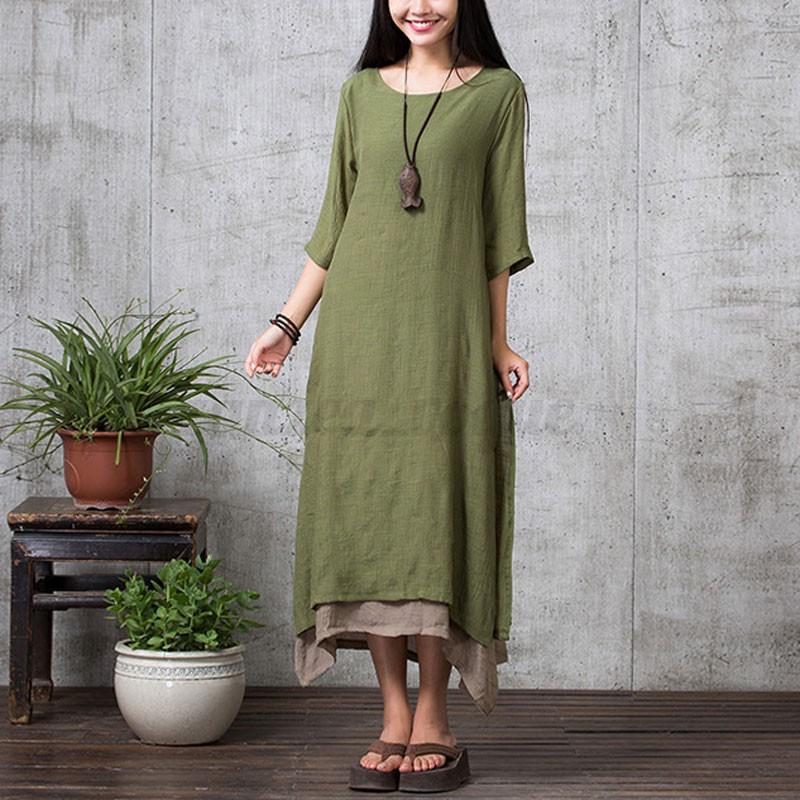 Women 3/4 Sleeve Long Maxi Shirt Dress Cotton Linen Asymmetric Beach Wear Plus