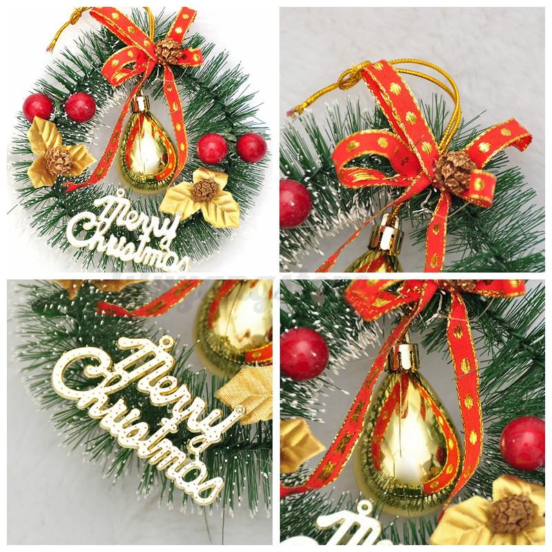 Merry Christmas Party Poinsettia Pine Wreath Door Wall Home Garland Xmas Decor
