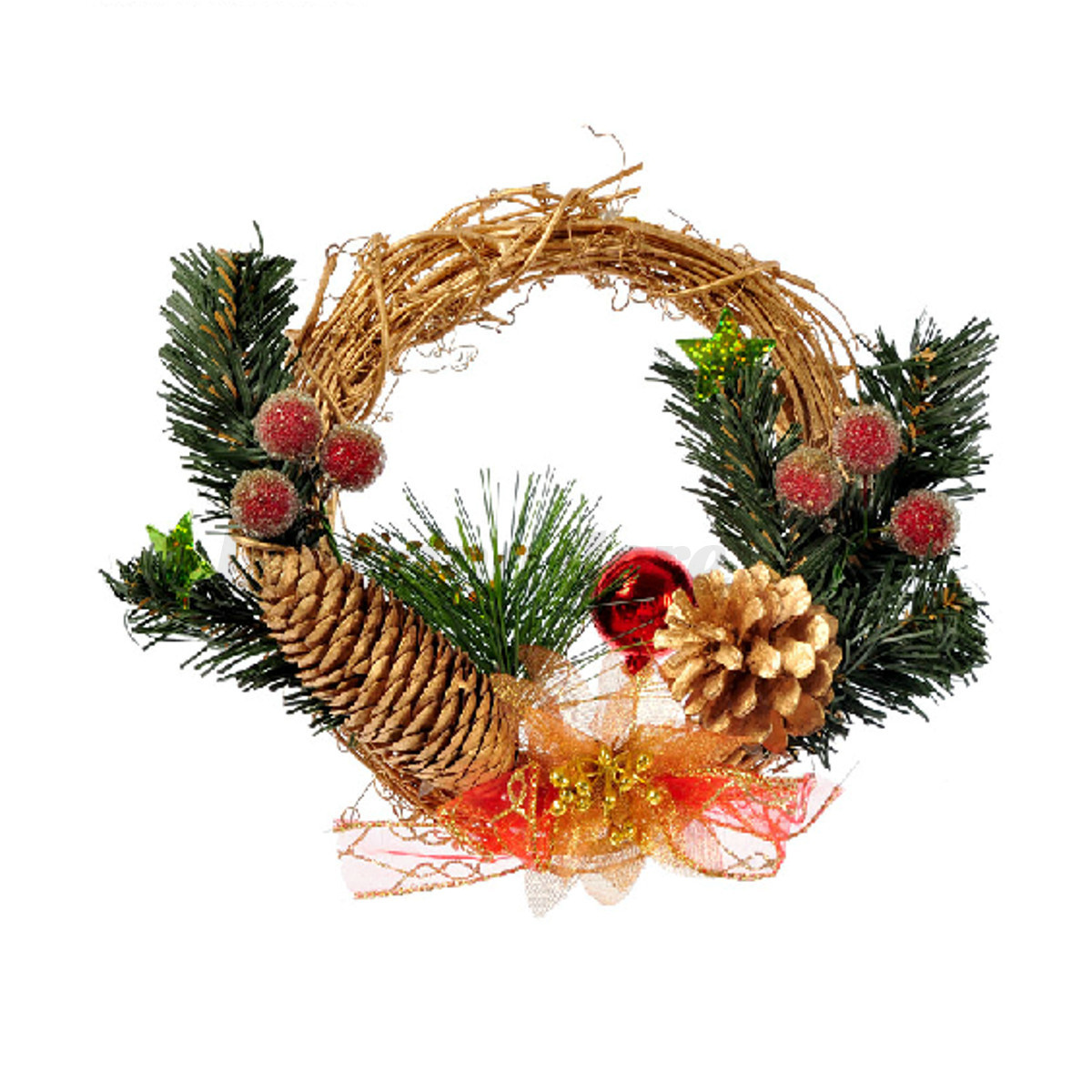 Merry Christmas Party Poinsettia Pine Wreath Door Wall Home Garland Xmas Decor