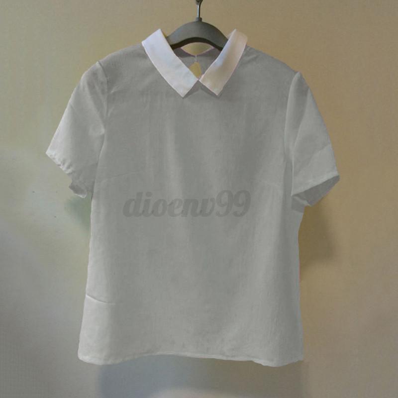 White short sleeve peter pan collar blouse collar blouses for White cotton shirt peter pan collar