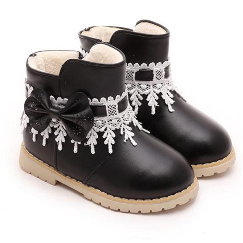 enfant hiver filles chaussures cheville bottines bottes de neige noeud dentelle ebay. Black Bedroom Furniture Sets. Home Design Ideas