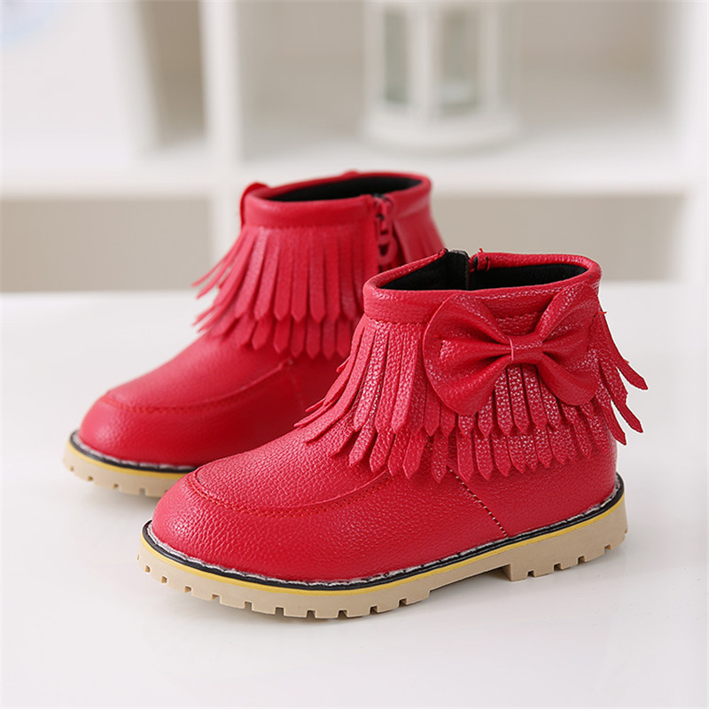 Winter Leather Girls Kids Child Bowknot Soft Ankle Boots Tassel Princess Shoes