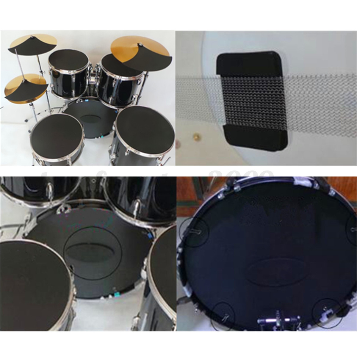 10x bass drums sound off quiet mute silencer drumming rubber practice pad set ebay. Black Bedroom Furniture Sets. Home Design Ideas