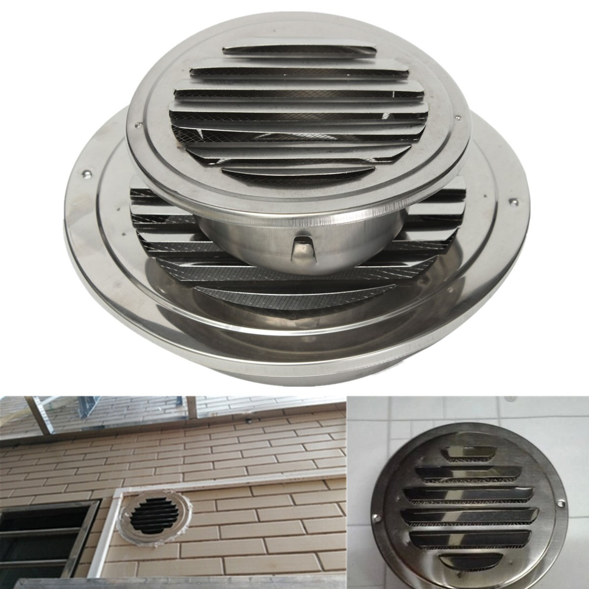 Stainless Silver Circular Air Vent Scoop Grille Cover Wall