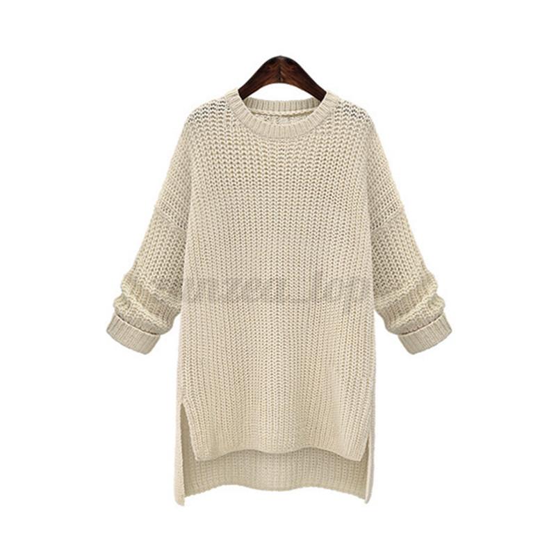 Women Oversized Loose Knitwear Batwing Sleeve Split Sweater Cardigan Outwear