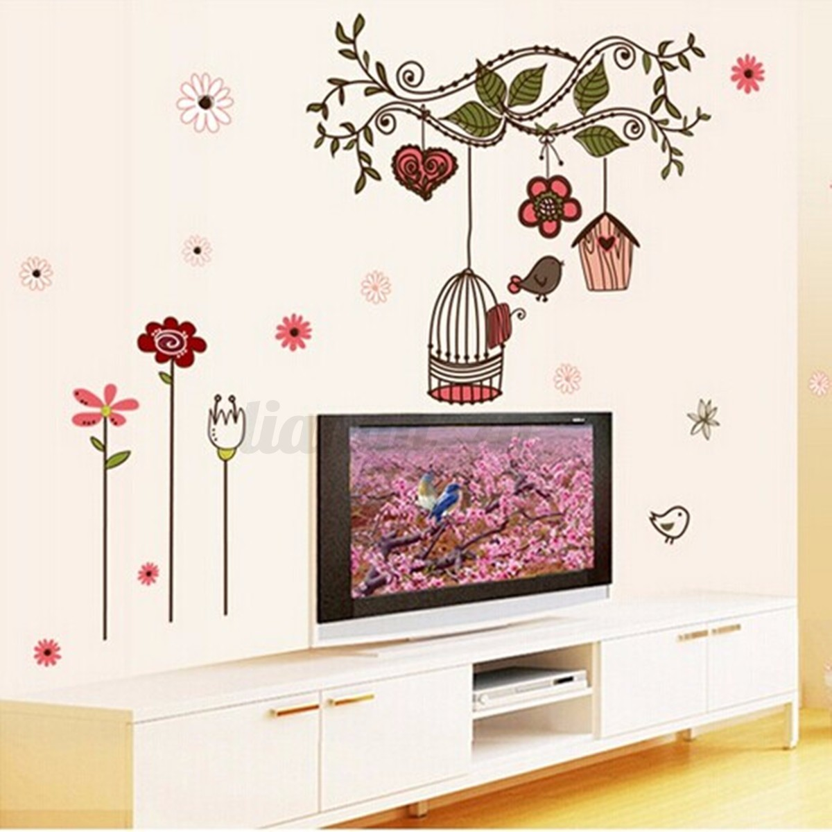 Sticker mural fleur branche cage oiseau mur d coration for Decoration autocollant mural