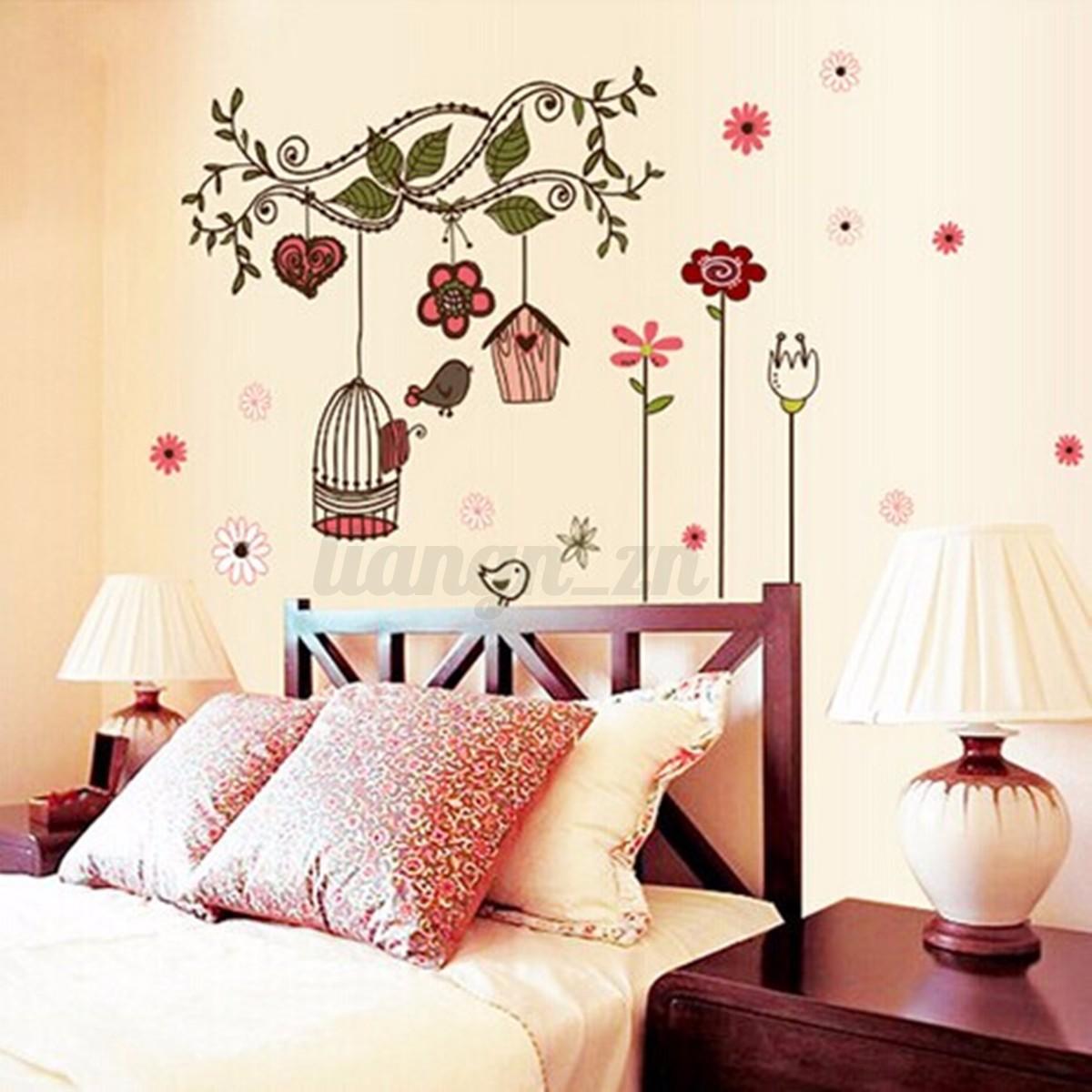 Sticker mural fleur branche cage oiseau mur décoration