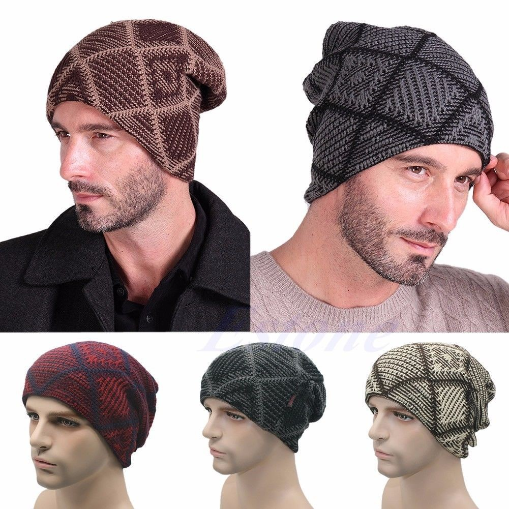 Image is loading Hombre-Mujer-Lana-Tejer-Sombrero-Gorro-Slouch-Beanie- 322186b7365