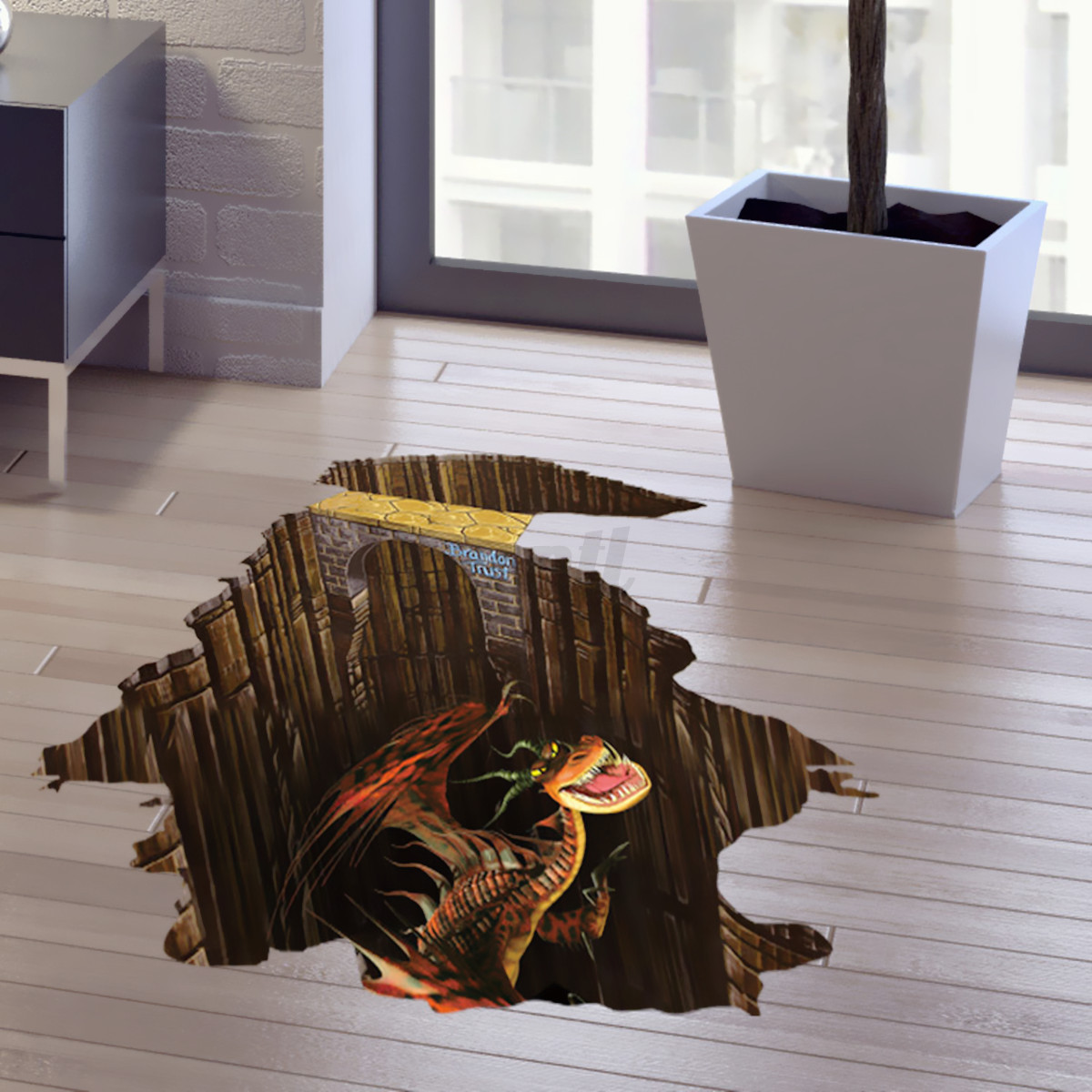 3d floor jurassic dinosaur wall sticker wallpaper kids for Sticker mural 3d