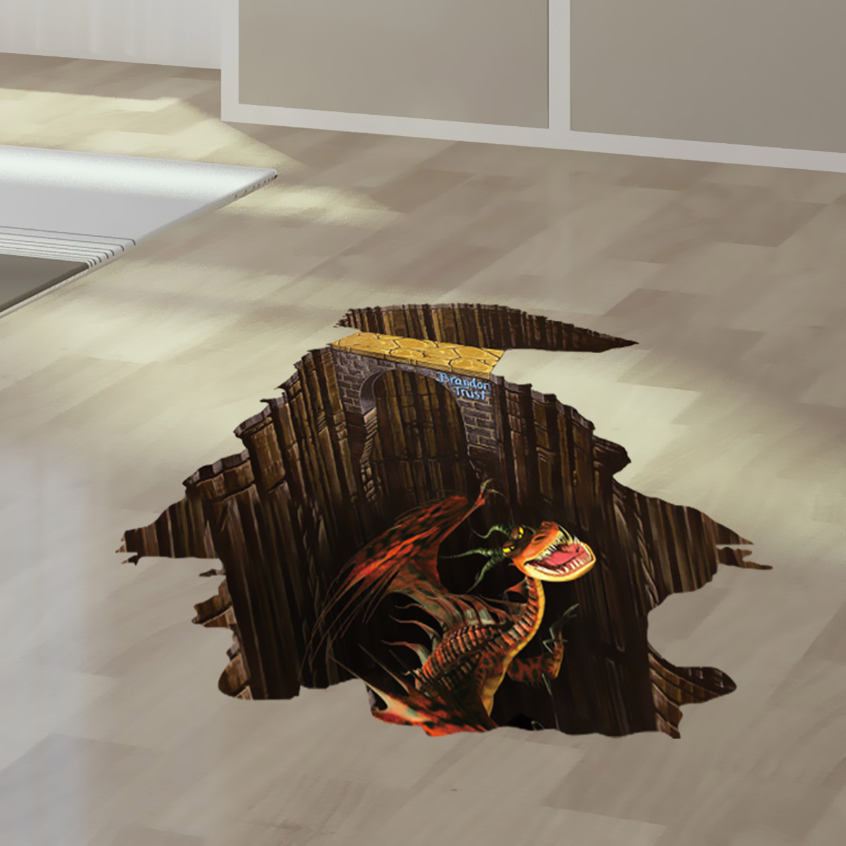 3d floor jurassic dinosaur wall sticker wallpaper kids for Bedroom 3d wall stickers