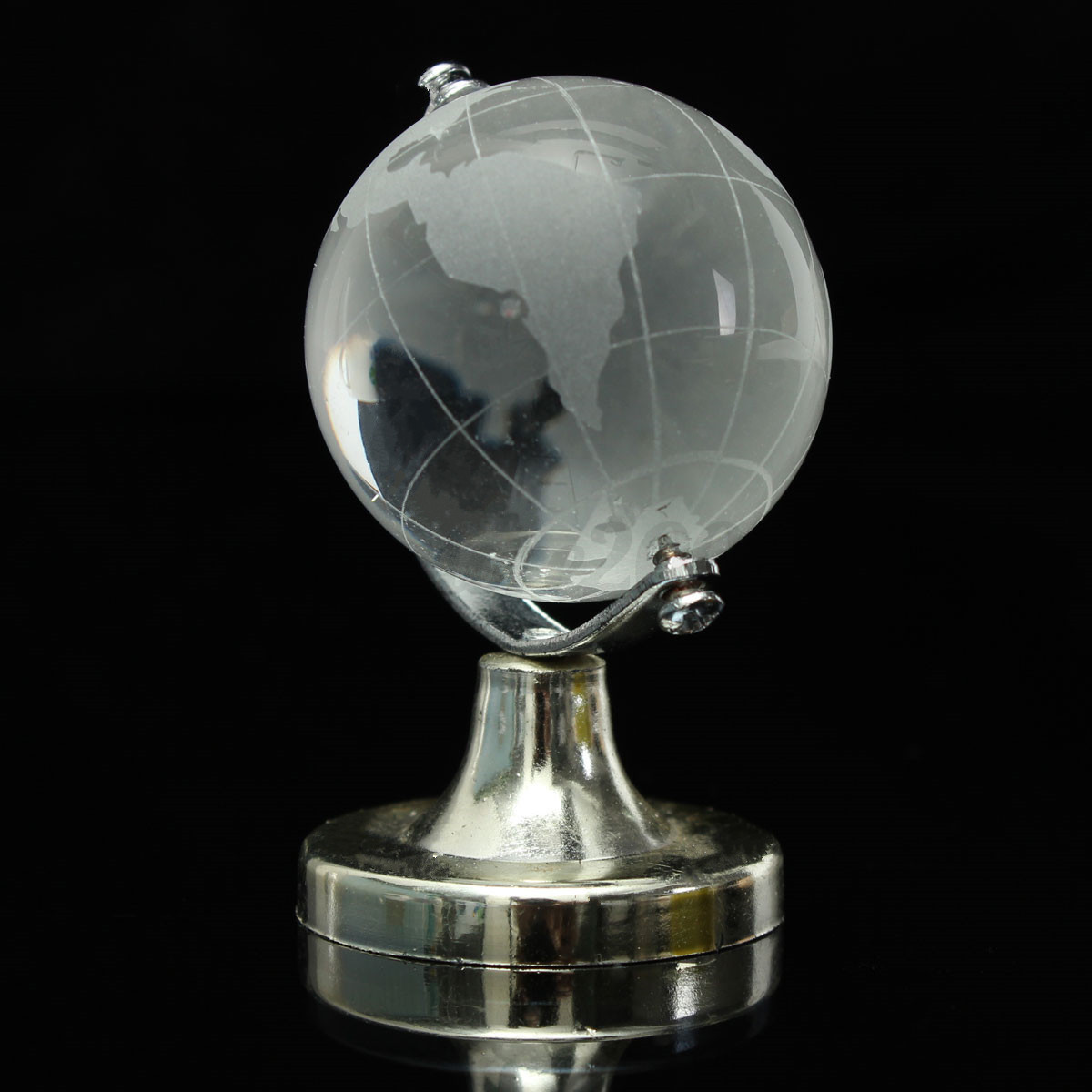 Round Earth Globe World Map Crystal Glass Clear