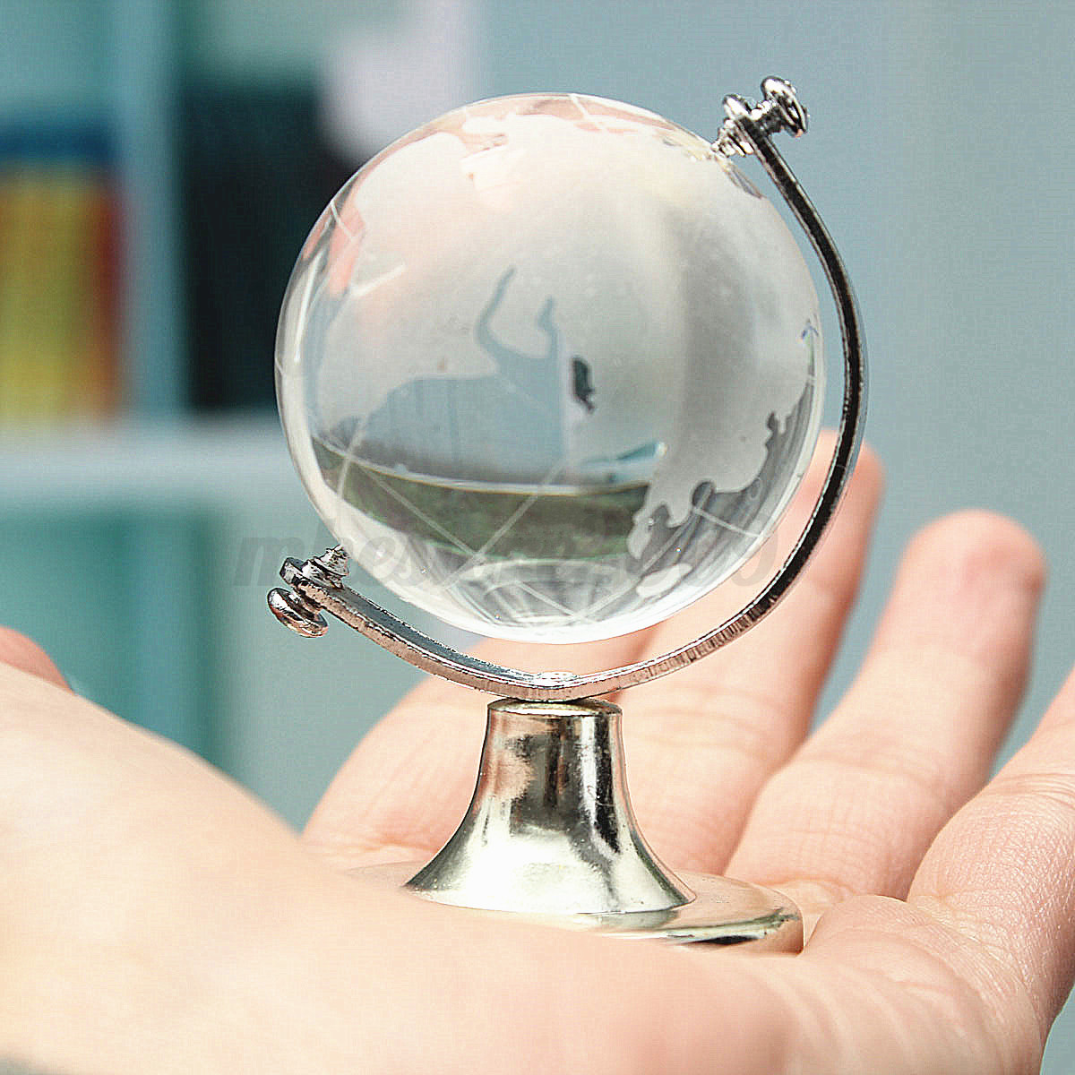 Baptism Ornament Round Glass: Round Earth Globe World Map Crystal Glass Clear