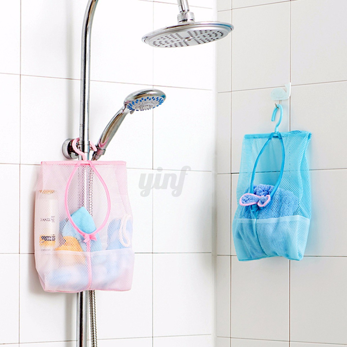 Laundry bathroom hanging mesh storage bag clothes toy net for Bath storage net