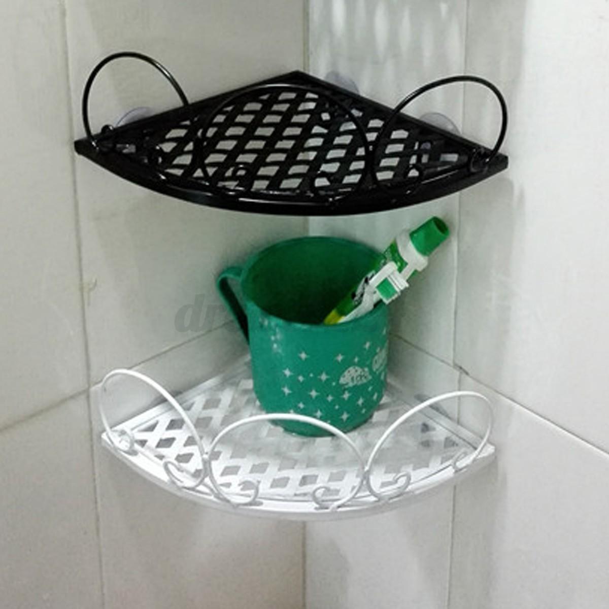 Bathroom shower corner storage rack basket hanging wall shelf holder organizer ebay for Hanging baskets for bathroom storage