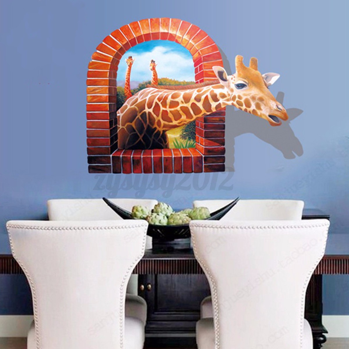 3d broken sunrise view dolphin horse removable wall for Broken glass mural