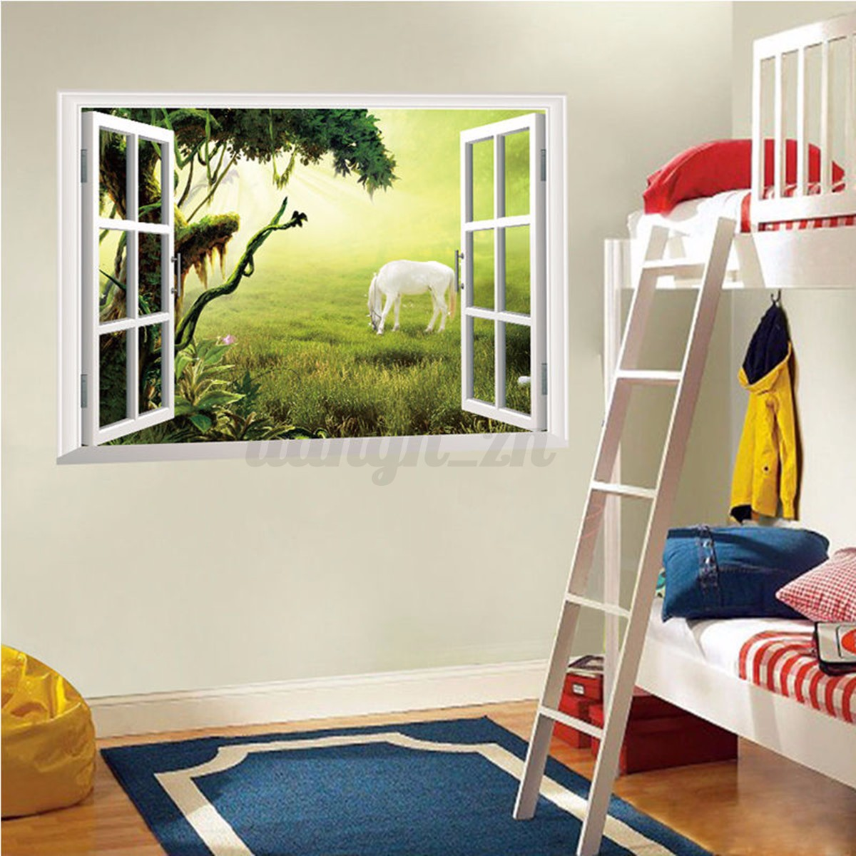 3d sticker mural fen tre vue animaux mur d coration for Adhesif decoration