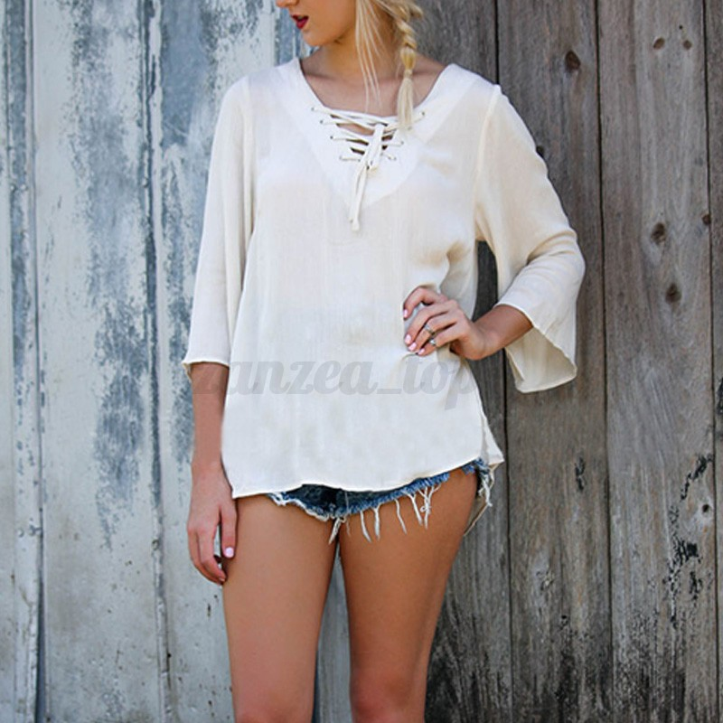 2016 Sexy V Neck Lace Up Crochet Hollow Out Backless Loose Top Blouse T Shirt