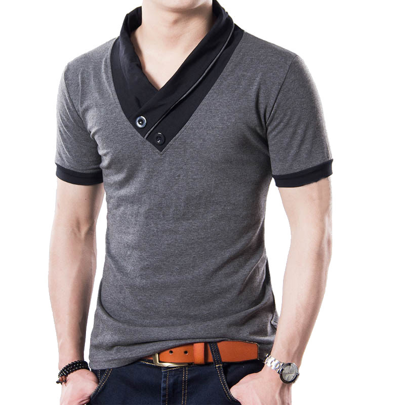 PODOM-Stylish-Men-039-s-Summer-Cotton-Shirts-V-Neck-Short-Sleeved-T-shirts-Tee-Tops