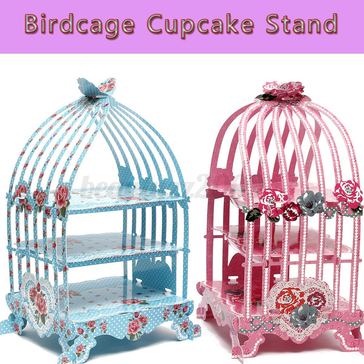 Birdcage Cupcake Cardboard Cake Stand Vintage Wedding Tea Party