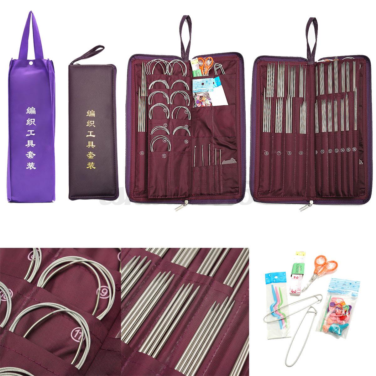 ... Steel Straight Circular Knitting Needles Crochet Hook Weave Set eBay