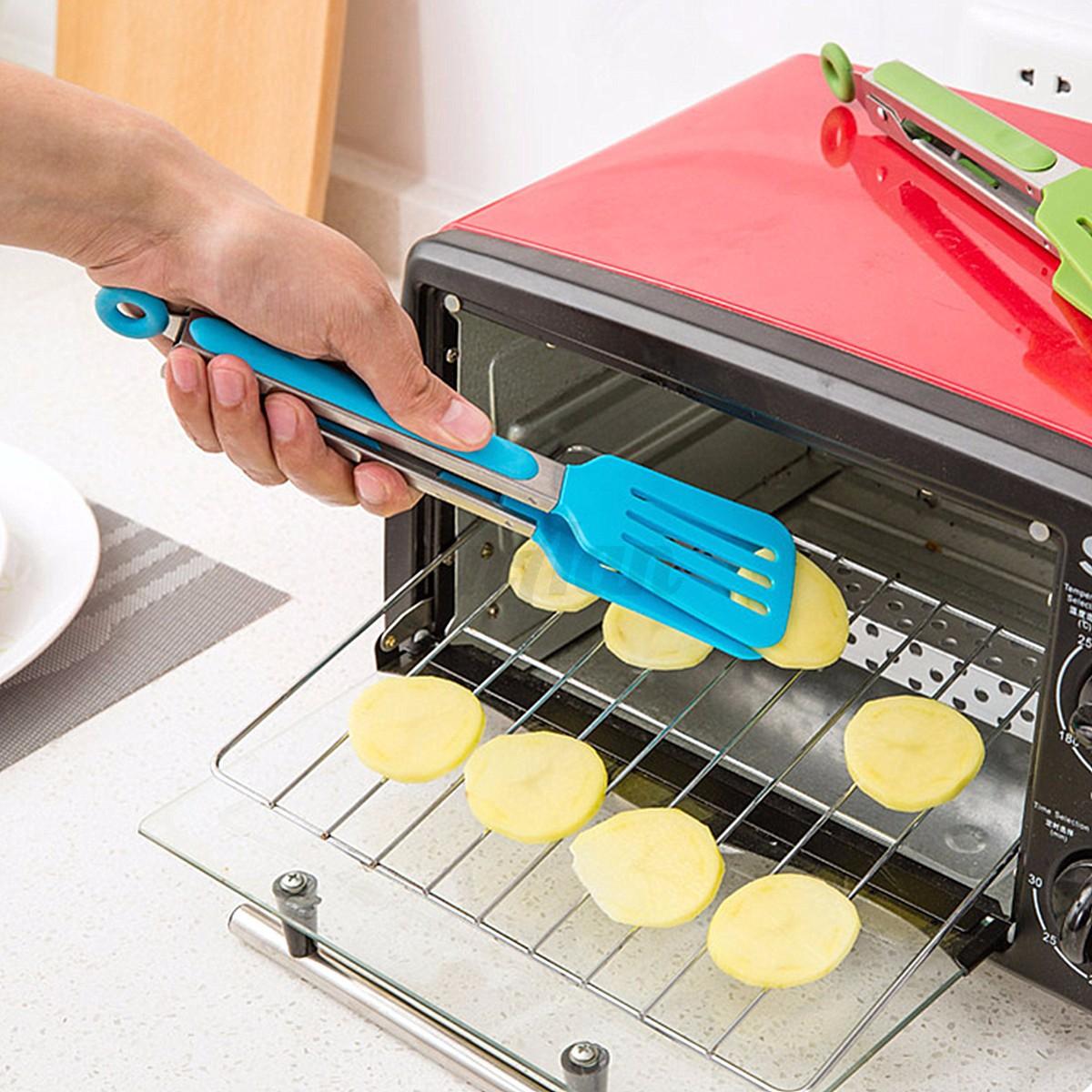 TPR Metal BBQ Food Salad Bread Serving Tong Kitchen Oven