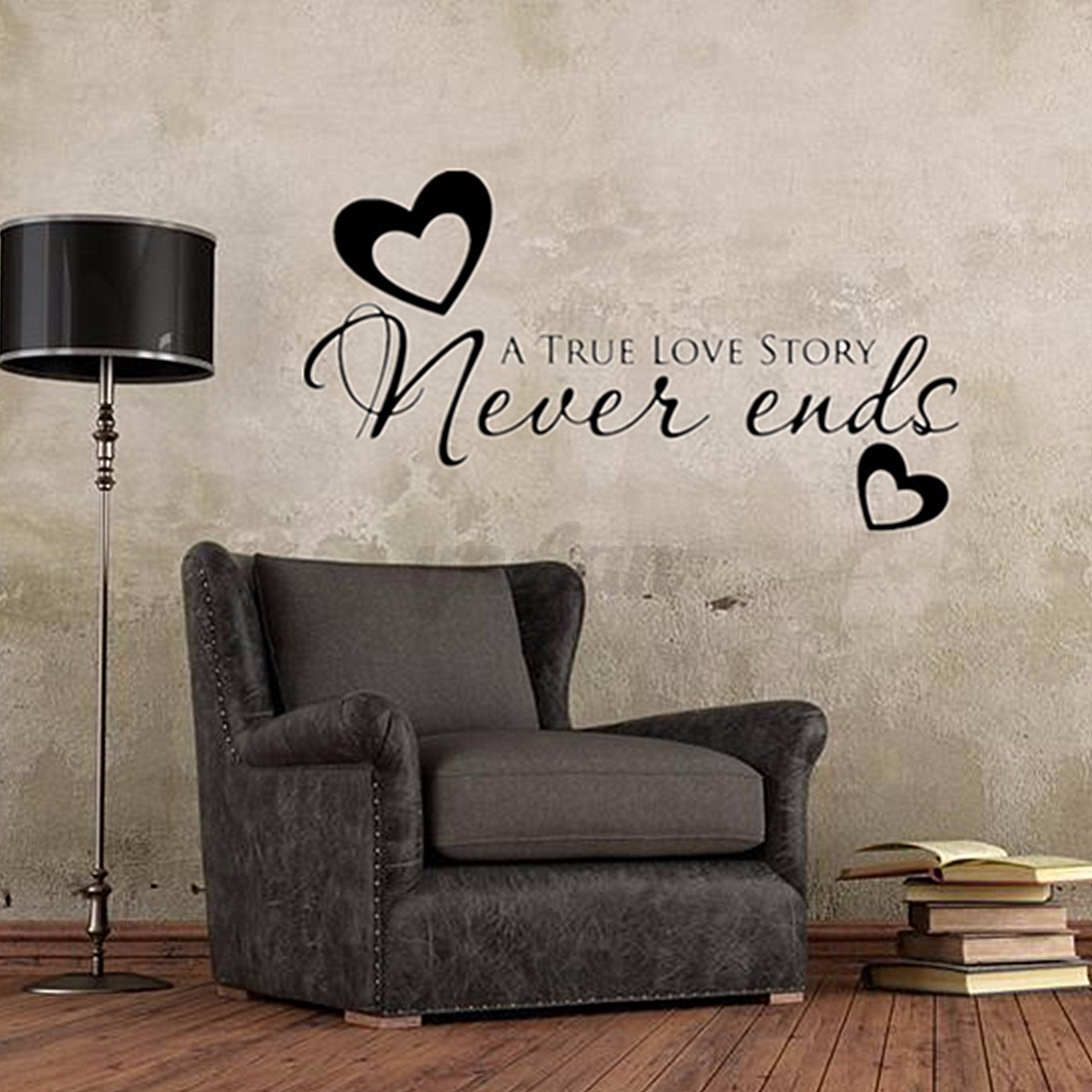 Family Wall Decor Diy : True love never ends heart wall stickers couple family