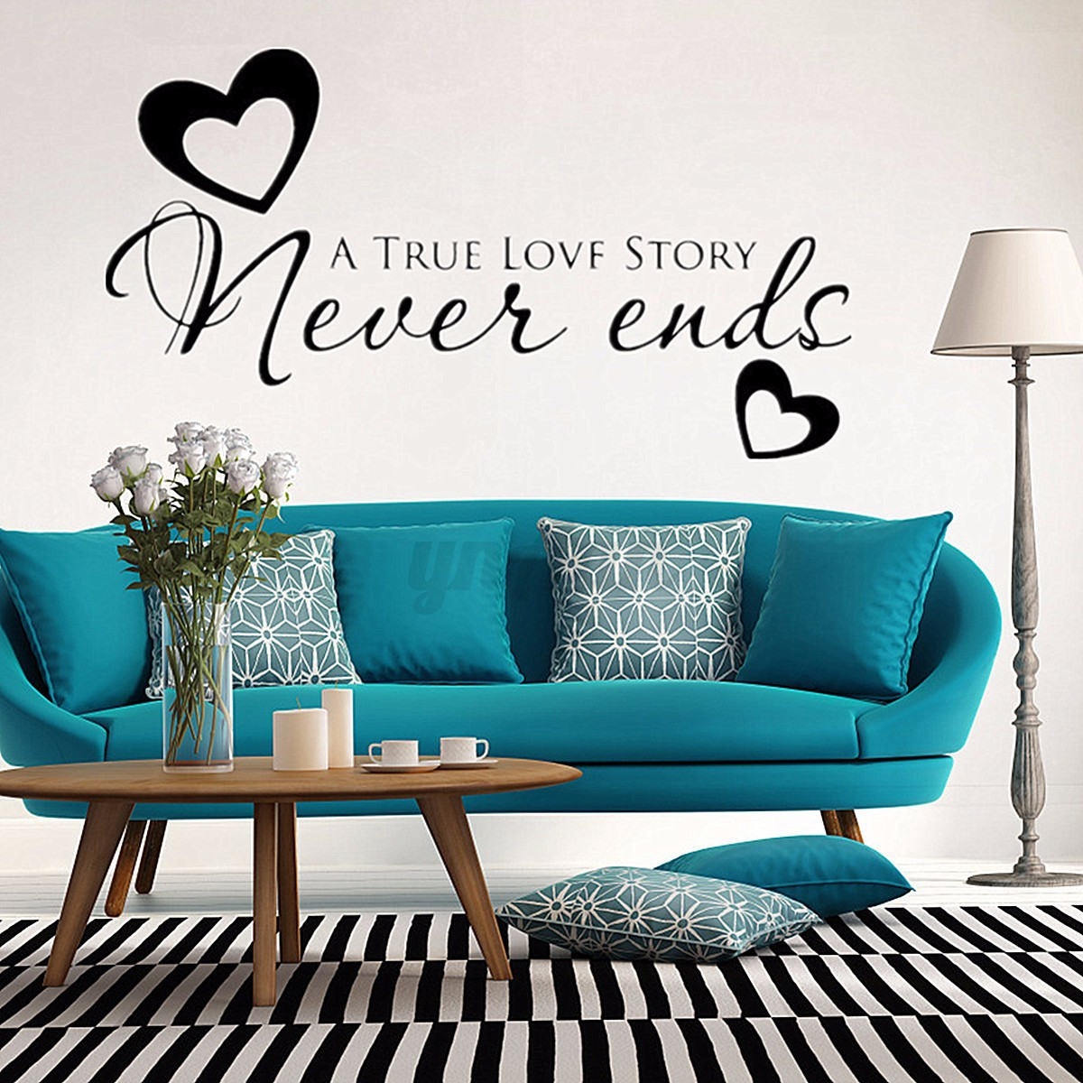 Diy Wall Art Dorm : True love never ends heart wall stickers couple family