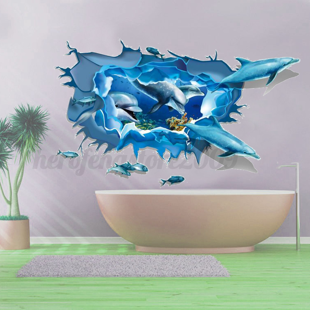 3d ocean dolphin kid bedroom removable wall sticker mural for Dolphin mural wallpaper