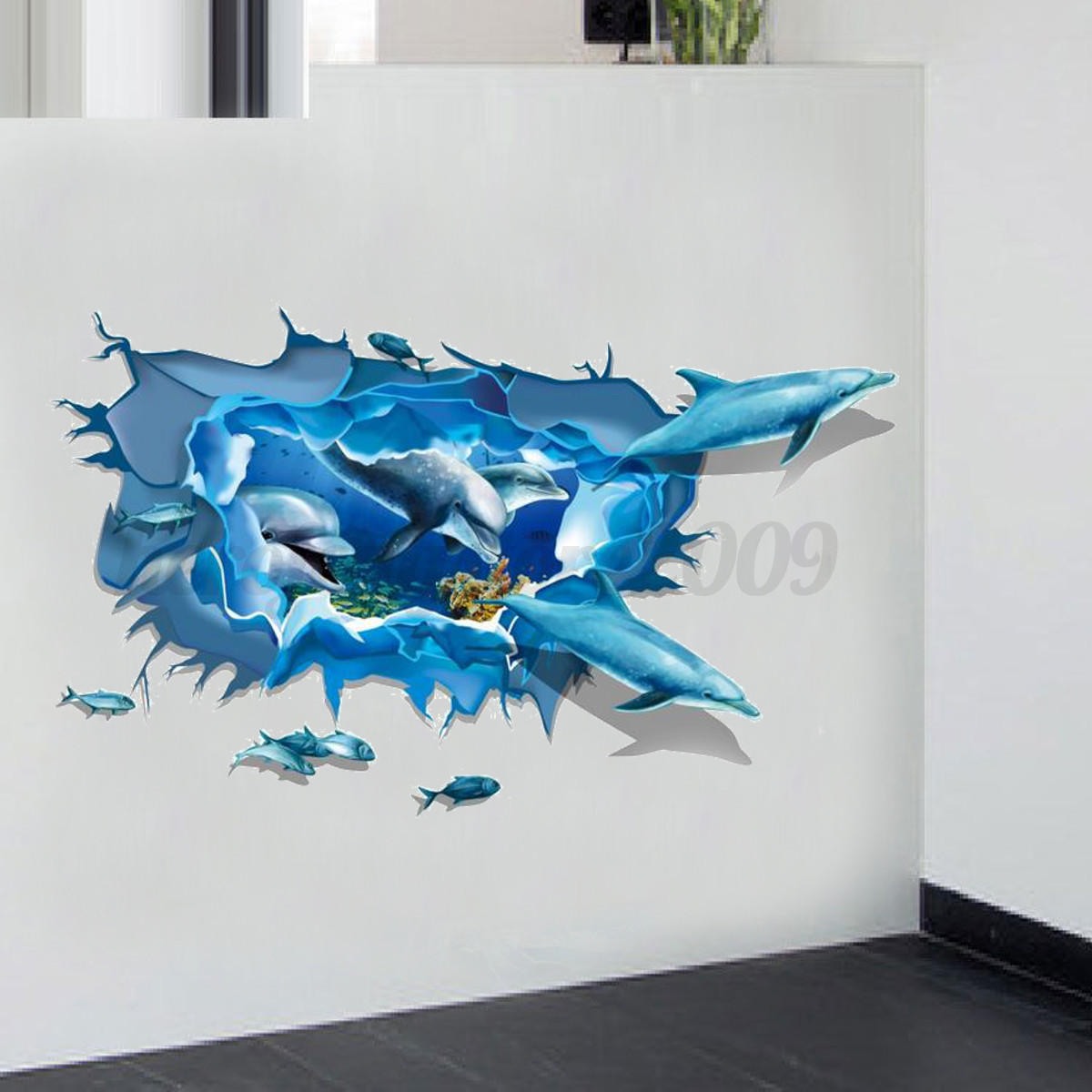 3d ocean dolphin kid bedroom removable wall sticker mural for Sticker mural 3d
