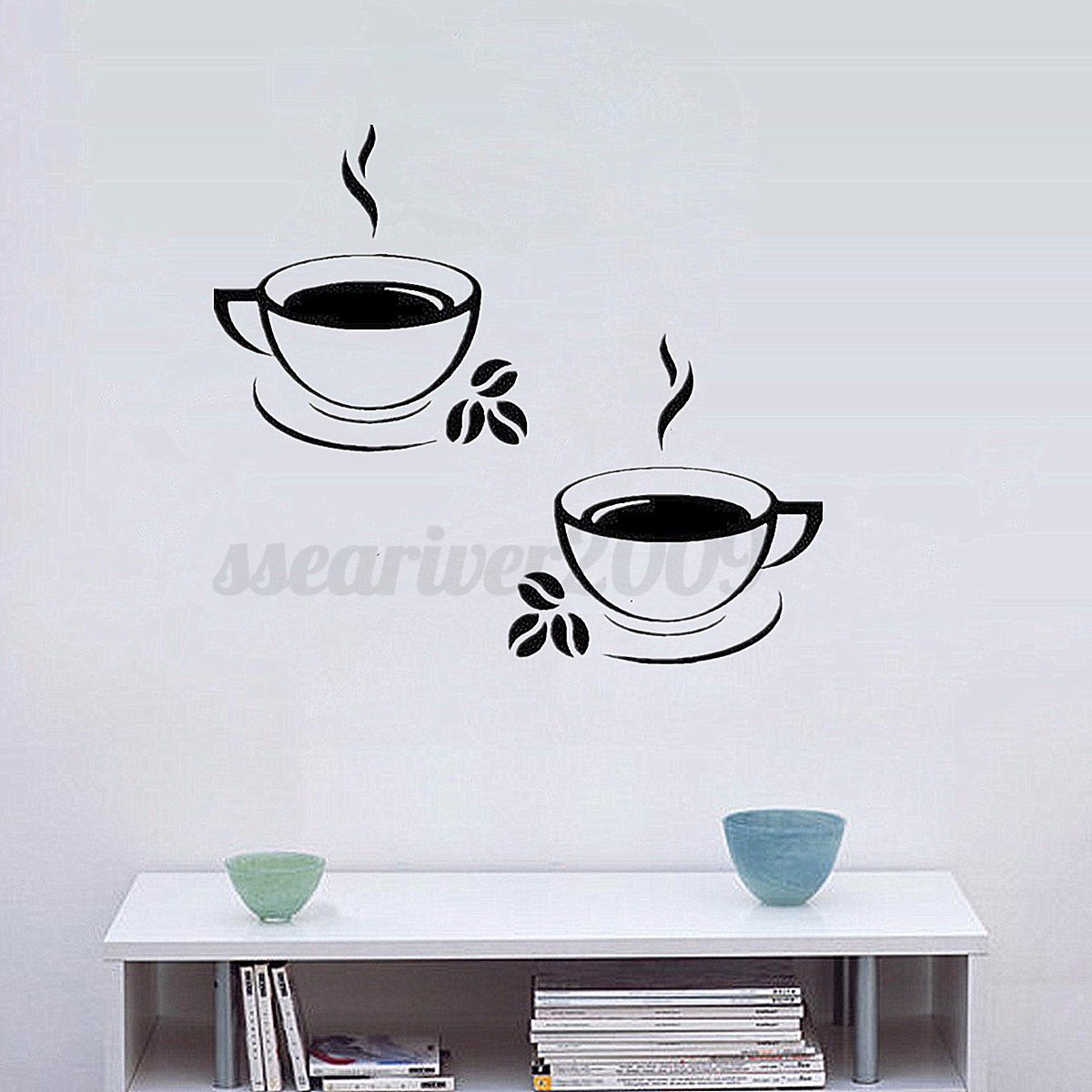 Coffee cups kitchen wall stickers art vinyl decal for Mural coffee