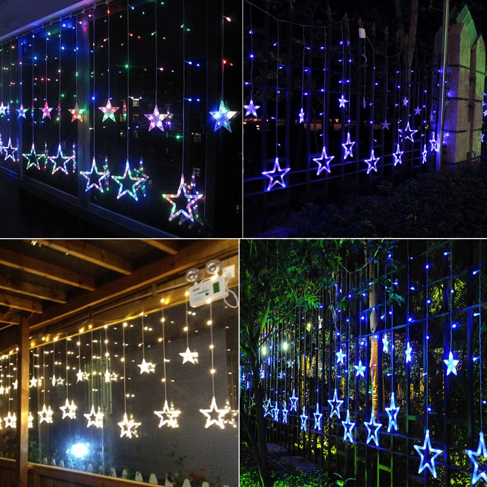 138 LED Christmas Wedding Xmas Party Decor String Fairy Window Wall Star Light eBay