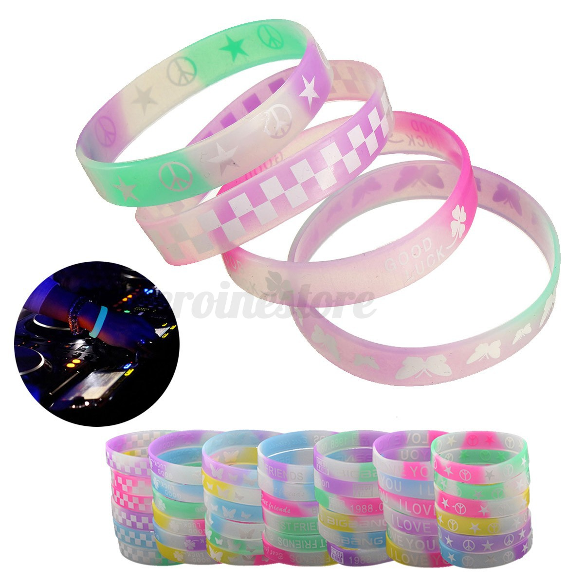 10x silikon gummi armb nder sport gummiarmband nacht beleuchte armband wristband ebay. Black Bedroom Furniture Sets. Home Design Ideas