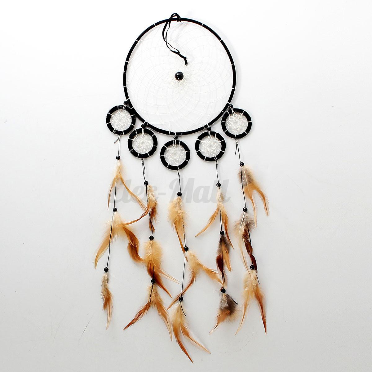 capteur de reve attrape attrapeur plume perle tenture dreamcatcher mural cadeaux ebay. Black Bedroom Furniture Sets. Home Design Ideas