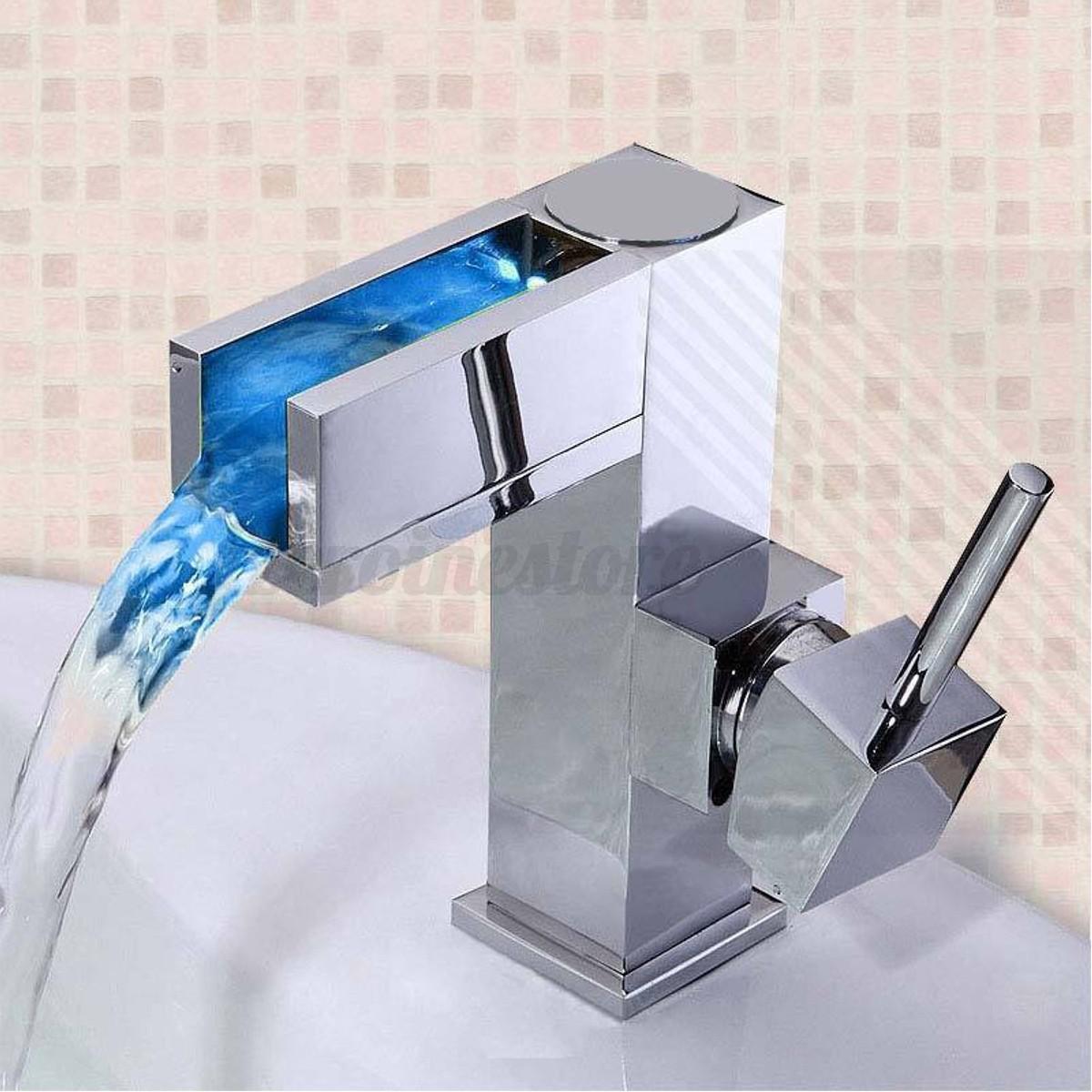 LED RGB Wasserfall Wasserhahn Einhandmischer Waschbecken Armatur ...