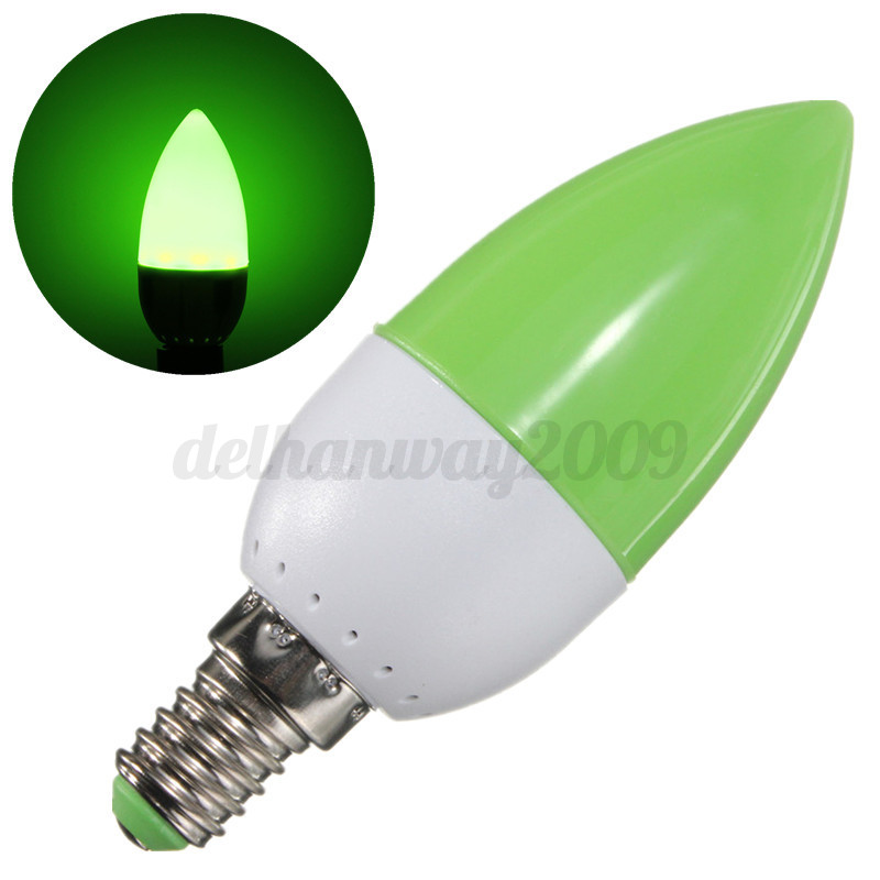 5W E14 SES LED Chandelier Candle Light Bulb Lamp Red Green ...