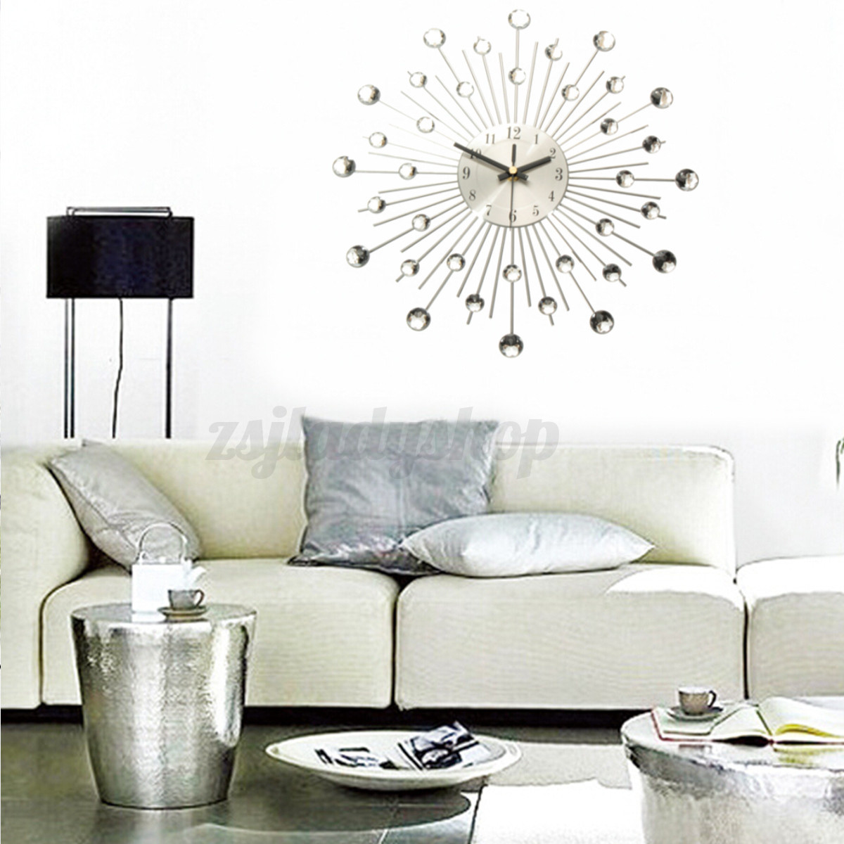 Modern art large wall clock metal sunburst home decor diy for Big wall decor