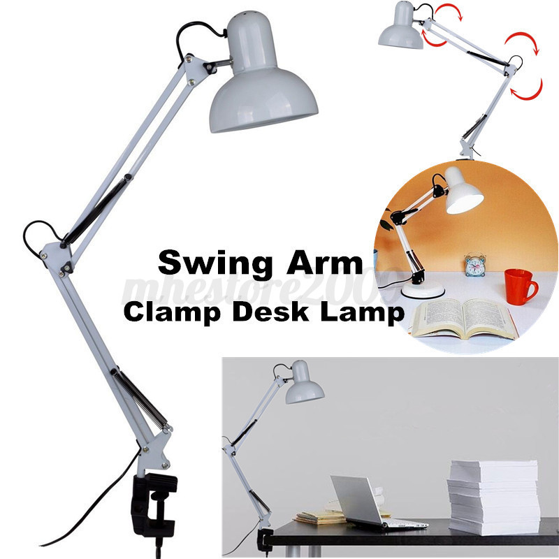 flexible swing arm clamp mount home office studio table desk lamp light white ebay. Black Bedroom Furniture Sets. Home Design Ideas