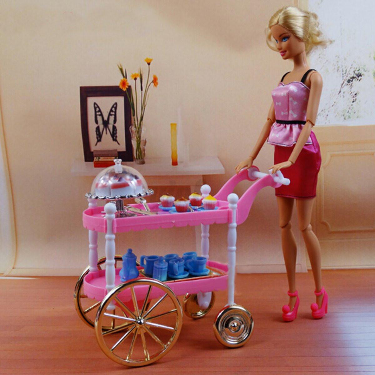 Furniture Birthday Cake Tea Car Trolley Canteen For Barbie Doll